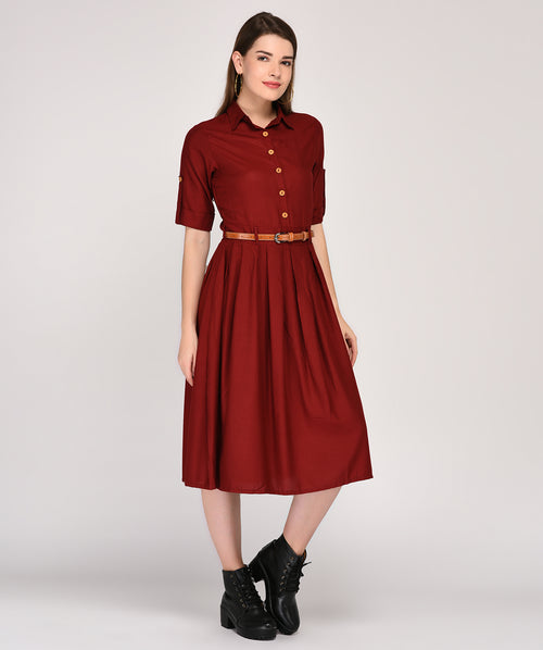 Red Collared 3/4th Sleeves Maxi Dress - Raaika Clothing