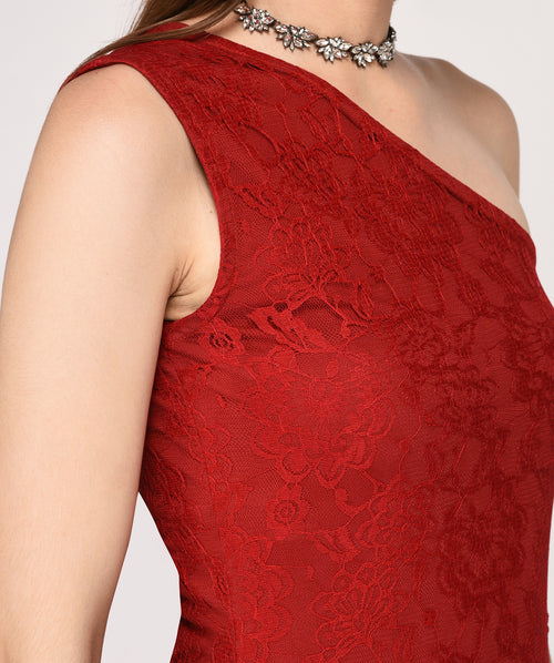 A-line One Shoulder Lace Dress - Raaika Clothing