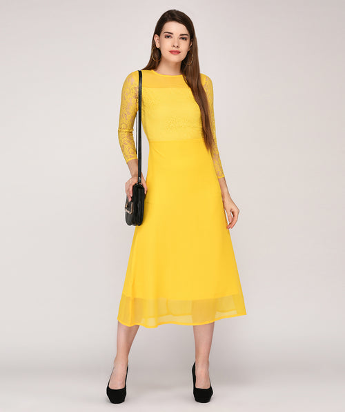 Mustard Yellow Round Neck Embellished Lace Maxi Dress - Raaika Clothing