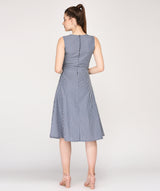 Round Neck A-line Grey Midi Dress - Raaika Clothing