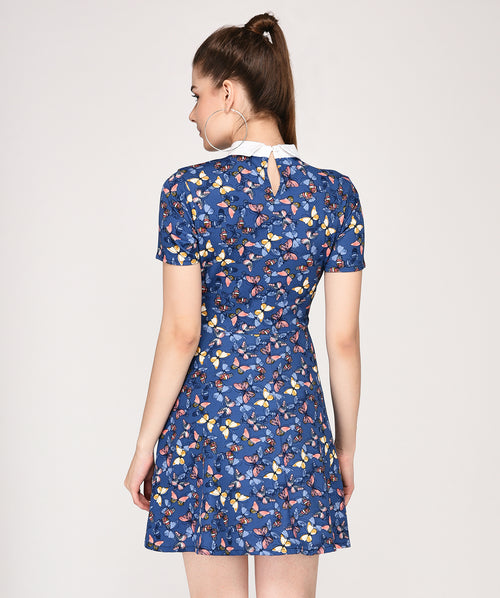 Blue Floral Peter Pan Collared Dress - Raaika Clothing