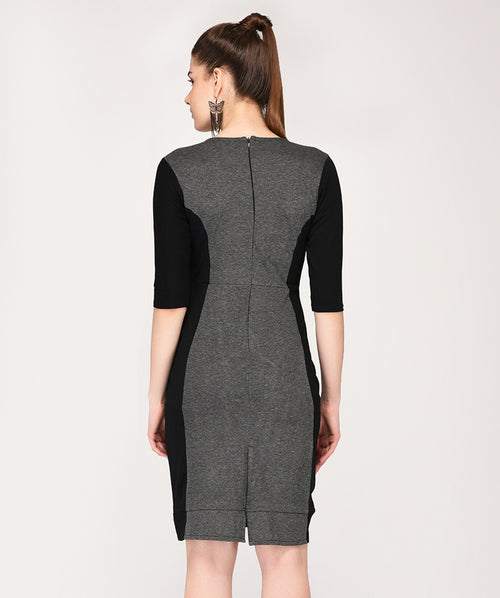 Grey and Black Bodycon Dress - Raaika Clothing