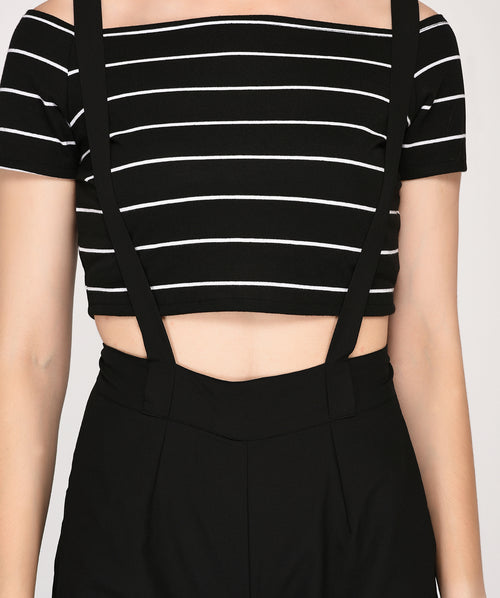 Off Shoulder Striped Top Full Length Dungaree - Raaika Clothing