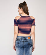 THE ULTIMATE STRIPED HALTERNECK TOP