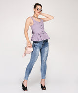 Lavender Sleeveless Peplum Cotton Top - Raaika Clothing