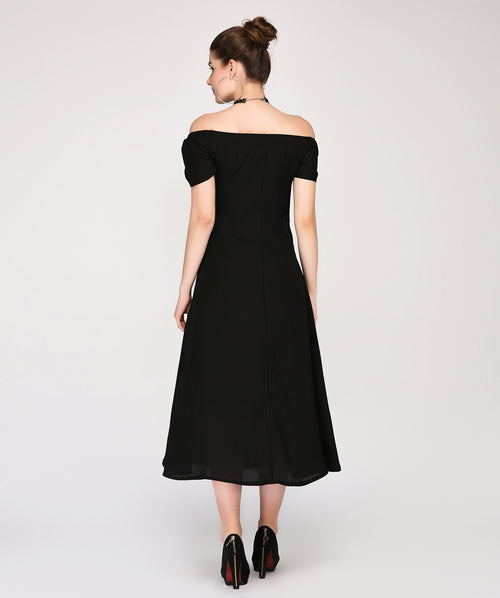 Black Off Shoulder Maxi Party Dress - Raaika Clothing
