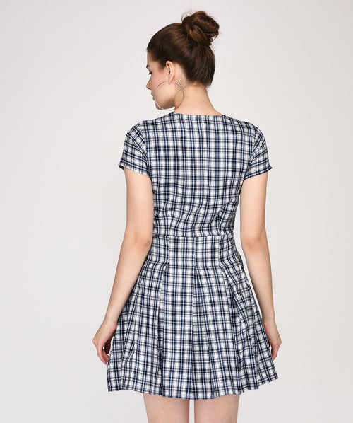 Grey Checkered Pleated Skater Dress - Raaika Clothing