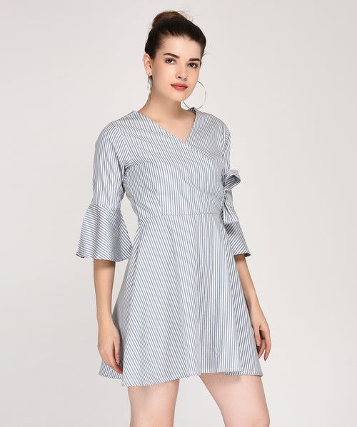 Striped Bell Sleeves Wrap Dress - Raaika Clothing