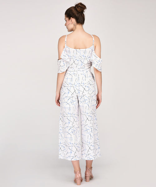 Regular Fit Cold Shoulder Abstract Printed Jumpsuit - Raaika Clothing