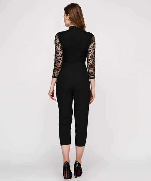 Embellished Lace Full Sleeves Collared Casual Jumpsuit - Raaika Clothing