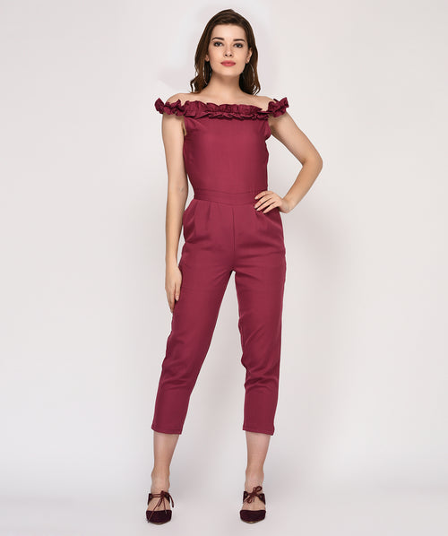 Off Shoulder Ruffle Party Wear Jumpsuit - Raaika Clothing