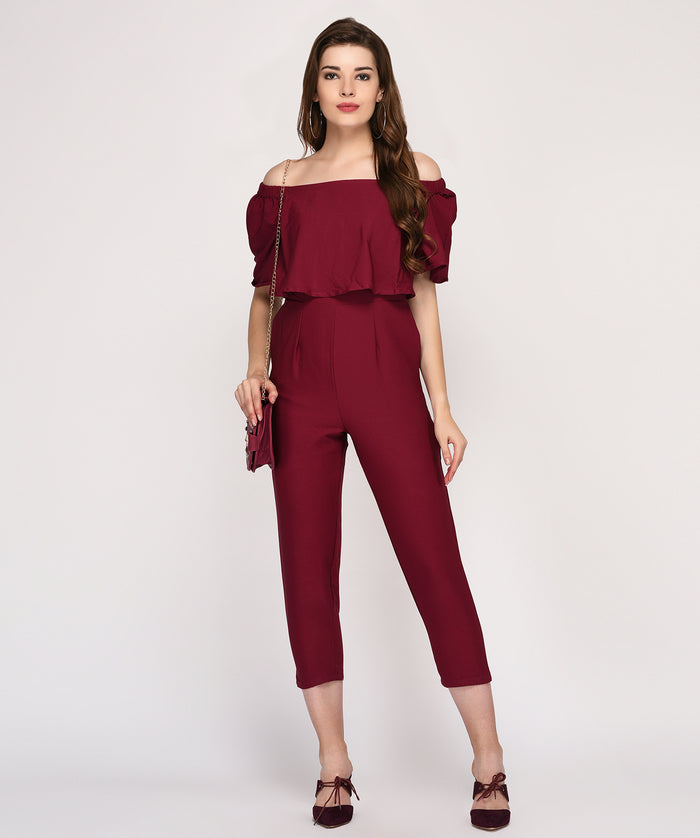 Off Shoulder Cape Sleeves Party wear Jumpsuit - Raaika Clothing