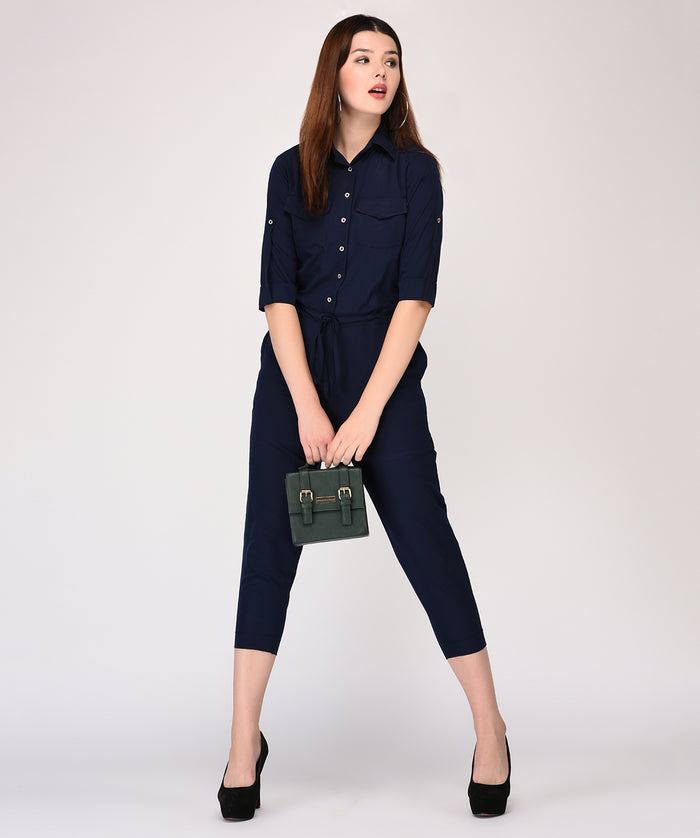 Collar Buttoned Details Clinched Waist Jumpsuit - Raaika Clothing