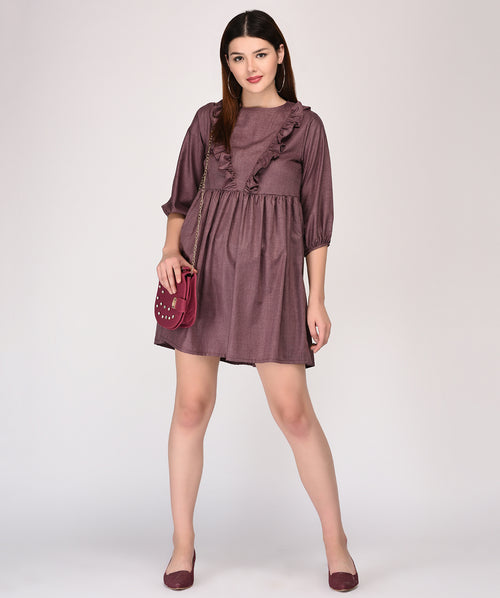Ruffle Round Neck Brown Shift Dress - Raaika Clothing
