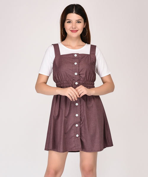 Brown Sleeveless Shift Dress - Raaika Clothing