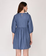 Ruffle Round Neck Blue Shift Dress - Raaika Clothing