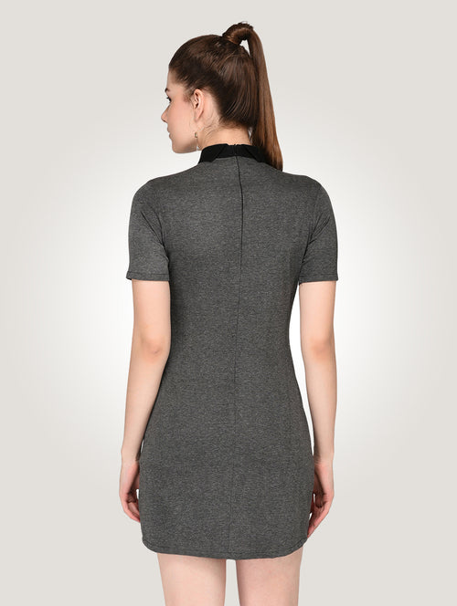 Grey Peter Pan Shirt Bodycon Dress - Raaika Clothing