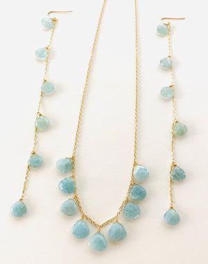 AQUAMARINE CHANDELIER NECKLACE AND EARRINGS