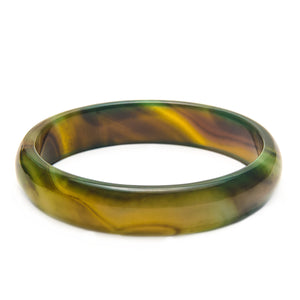 Stone Bangle Green with Stripes Agate bracelet