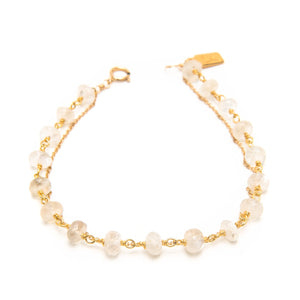Saloni Moonstone Rondelle and Chain Bracelet