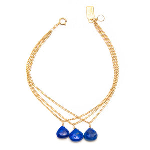 Triple Lapis and Chain Bracelet