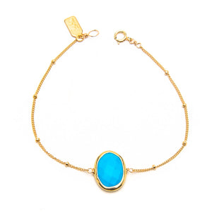 Gold Bezeled Sleeping Beauty Turquoise Bracelet