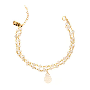 Saloni Moonstone and Druzy chain bracelet