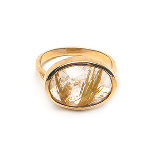 14k Faceted Rutilated Quartz Oval Ring
