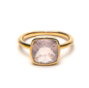 14k solid yellow gold Rose Quartz cushion ring.