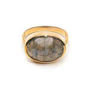 14k Faceted Labradorite Oval Ring