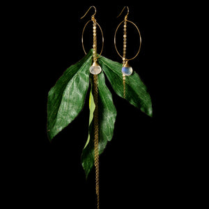 Jungle Leaf and Rainbow Moonstone Earrings