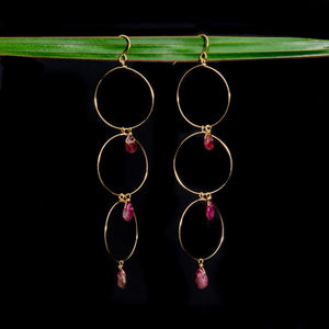 Pink Tourmaline Triple Hoop Earrings