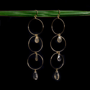 Golden Rutilated Quartz Triple Hoop Earrings