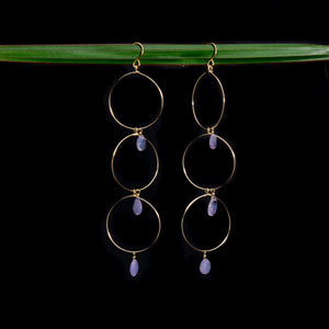 Lilac Opal Triple Hoop Earrings