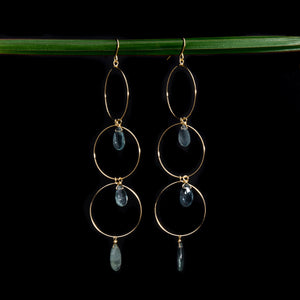 Moss Aquamarine Triple Hoop Earrings