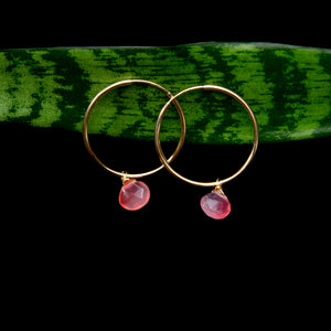 Neon Chalcedony Hoop Earrings