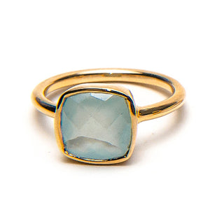 14k Faceted Aquamarine Cushion Ring