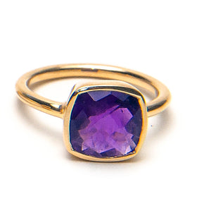 14k Faceted Amethyst Cushion Ring Shape