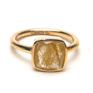 14k Faceted  Quartz Cushion Ring