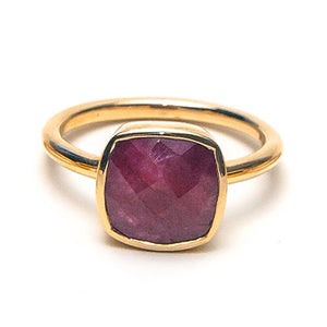 14k Faceted Ruby Cushion RIng