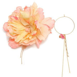 Peach Peony Rose Quartz and Rhondonite Hoop Earrings