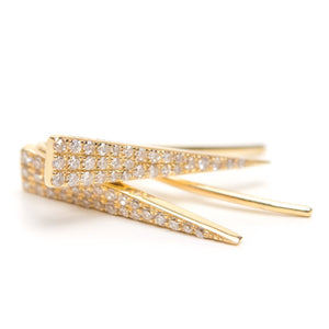 Solid 14k Gold and Diamond Spike Earrings
