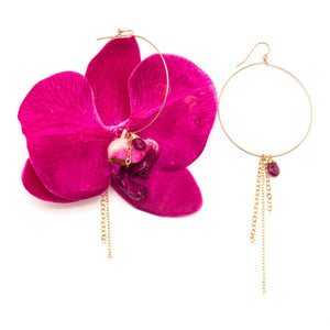 Pink Orchid and Sapphire Earrings