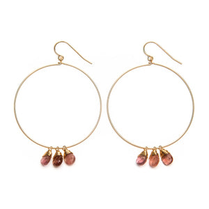 Light Pink Tourmaline Hoops Earrings