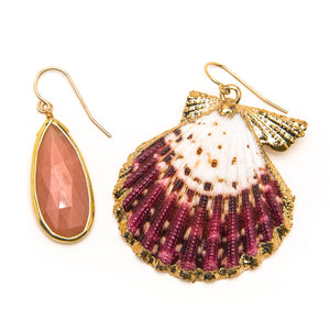 Pink Opal and Shell Earrings