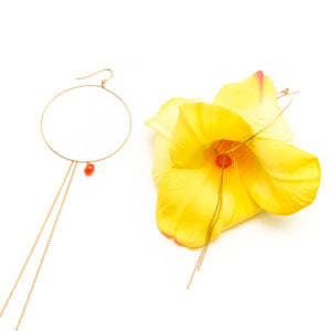 Yellow Gladiola and Chalcedony Earrings
