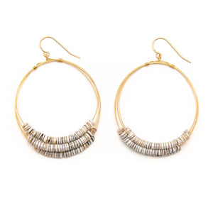 Fossilized Shell Multi Layered Hoop Earrings