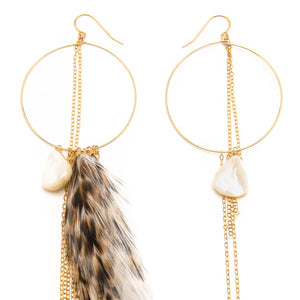 Mother of Pearl and Feather Hoop Earrings