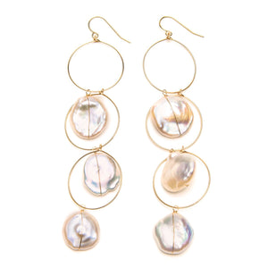 Triple Hoop and Pearl Earrings