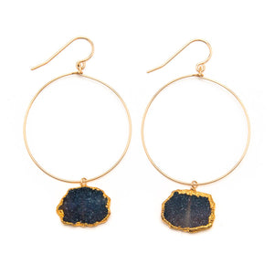 Black Druzy Hoop Earrings